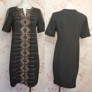 Nanette lepore black embroidered dress size 8